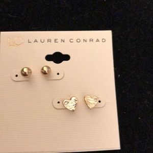 Gold balls and heart earrings